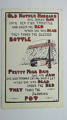 1900s Comic Postcard Black Humour Death Bed mother Hubbard Dry Gin Alcohol