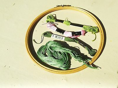 Circular adjustable wooden Embroidery Frame and 3 green & 1 pink silks