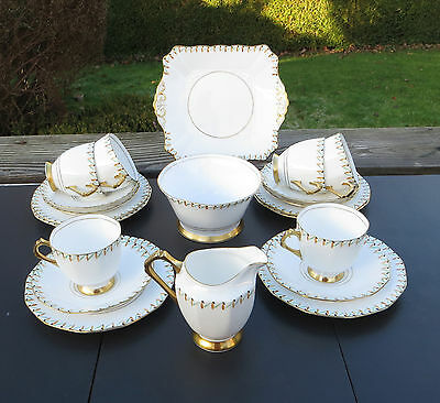 Art Deco Hand Coloured Plant Tuscan China 21 Piece Tea Set Reg No 780986.