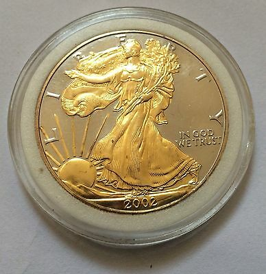"1 Troy Ounce .999 1 Oz. Pure Silver""proof""american Eagle""limited Gold Plated"""
