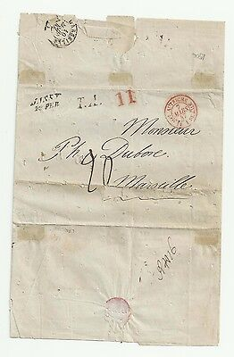ROMANIA 1847 Letter from JASSY to MARSEILLE,Disinfection slits -BOINA quarantine