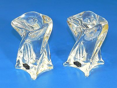 """Rare St Louis Crystal """"isabelle"""" Modernist Twisted Cube 4.5"""" Candlestick Holders"""