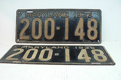 Matched pair of 1936 Maryland license plates