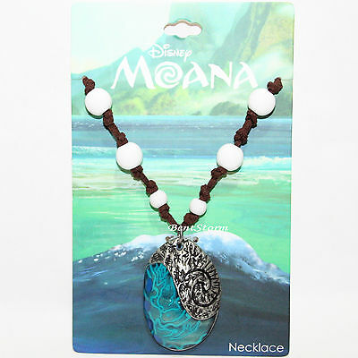 Disney Moana Replica Shell Metal Pendant Faux Leather Cord Beaded Necklace New