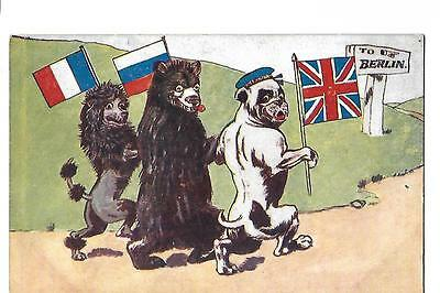 World War 1. Military Comic Postcard. Bulldog. Britain, France and Russia.