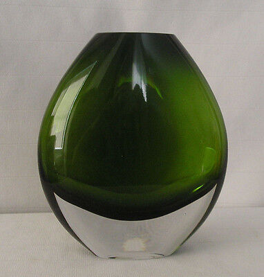 PartyLite Oval Dark Green & Clear Glass Vase P90047 Weighted Bottom China