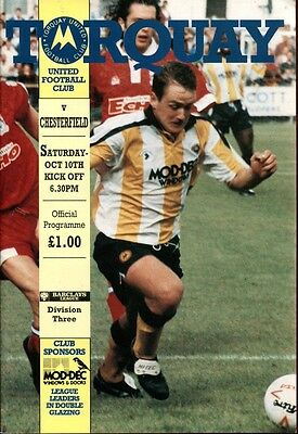 Torquay United v Chesterfield 10/10/92 Division 3