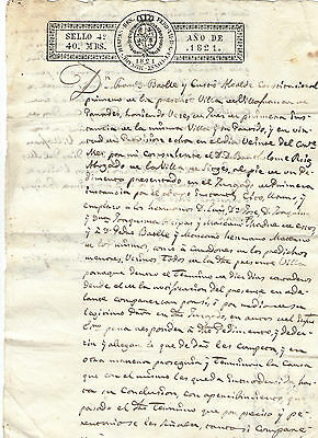 1821 Official document of the XIX century Spanish Empire,( imperial tax.)