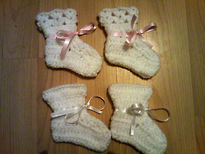 Handmade Crocheted Unisex Baby Bootees 100% Acrylic   2 styles   various colours