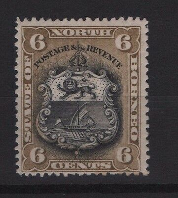 North Borneo SG 73a 1894 6c Black and Bistre-Brown P13.5-14 Mounted Mint