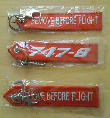 REMOVE BEFORE FLIGHT BOEING 747-8 tag NEW