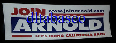 Arnold Schwarzenegger Official 2003 Campaign Bumper Sticker Governor California