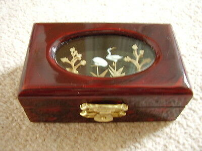 Chinese WOODEN TRINKET/JEWELLERY BOX ,Cranes picture under glass,collectable