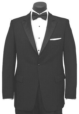 Men's - 100% Wool One Button Peak Lapel Tuxedo Coat Dinner Jacket - All Sizes