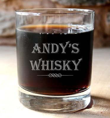 Personalised glass whisky drinks tumbler.