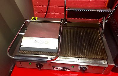 """Adcraft Double 8"""" x 8"""" Electric Sandwich Panini Grill Ribbed Surface"""