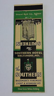THE SOUTHERN HOTEL BALTIMORE, MARYLAND Matchbook Matchcover