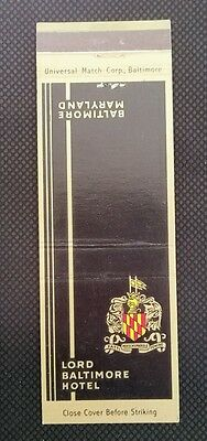 LORD BALTIMORE HOTEL BALTIMORE, MARYLAND Matchbook Matchcover