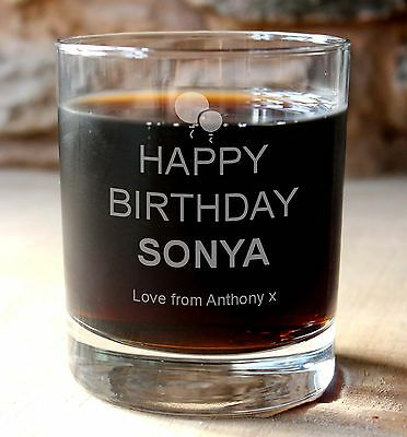Personalised engraved happy birthday glass whisky drinks tumbler.