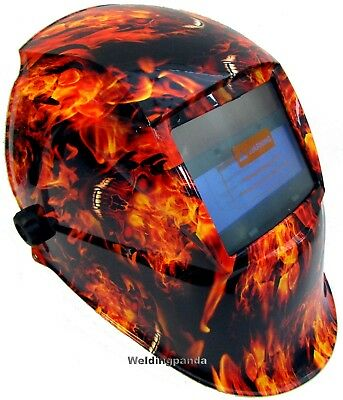AUTO DARKENING WELDING HELMET WELDERS MASK Solar Powered FIRE MONSTER Design