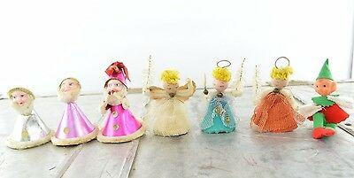 Vintage Pixie Elf Gnome and Spun Cotton Angel Christmas Ornaments Made in Japan