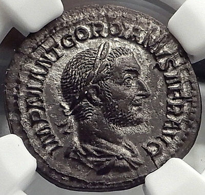 GORDIAN I AFRICANUS 238AD NGC Certified Ch AU Ancient Silver Roman Coin i58298