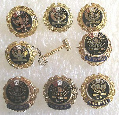 Lot of 8 Vintage to Now Fraternal Order of Eagles Ladies Auxiliary FOE LA Pins