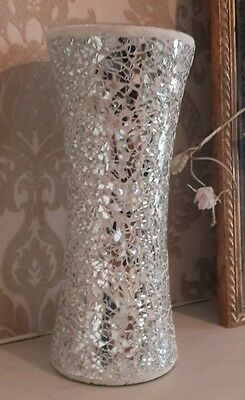 Large Crackle Vase Silver Glitter Sparkle Mosaic Mirror Glass Wedding Candle