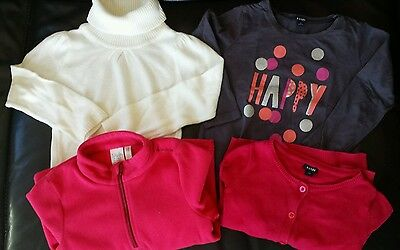 lot pull polaire tee shirt fille 4 ans tbe
