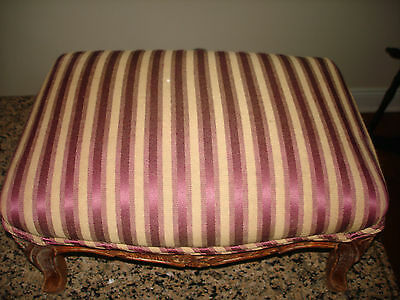 Antique Footstool Ottoman  Country Primitive Walnut Stool