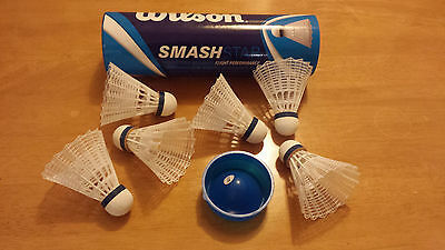 New Wilson SmashStar Badminton Shuttlecocks, Tube of 6 Shuttles Medium Speed