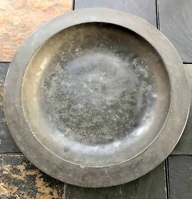 "Large 14.75"" Deep Dish Pewter Charger Circa Late 18th Century to 1820's"