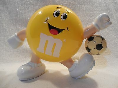 1991 M&M's Plastic Yellow Soccer Candy Dispenser Foreign (European)