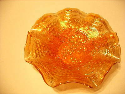 Vintage Imperial Marigold Grapes Carnival Glass Ruffled Bowl!