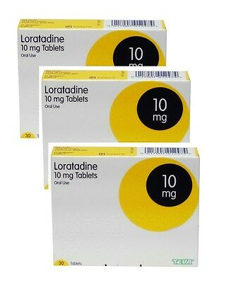 3 X Loratadine Hayfever and Allergy Relief 10mg - 30 Tablets Non Drowsy Clarityn