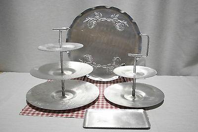 LOT of Vintage Aluminum Serving Tray 2 and 3 Tiered Plates Floral, pine cones.