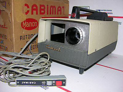 Vintage Cabimat Automatic Slide Projector w Remote & Box  WORKS