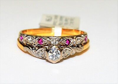 18k Yellow Gold Diamond White Sapphire & Pink Ruby 2x Ring Bridal Set #693865