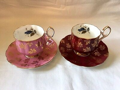 """Taylor And Kent """"Elizabethan"""" Vintage Tea Cups And Saucers 4 pieces"""