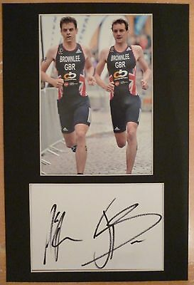 Alistair & Jonathan Brownlee Signed Mounted White Index Card,Triathlon,Athletics
