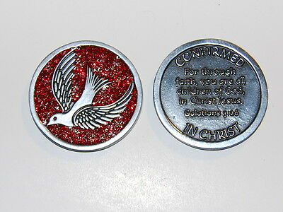 "CONFIRMED IN CHRIST Enamel Sparkle Token Christian Confirmation Gift 1 1/4"" Coin"