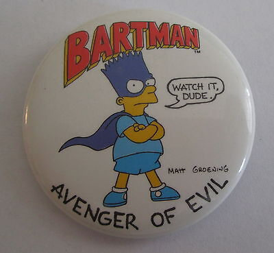Vintage The Simpsons TV Show Pin Button Badge Bartman Avenger Of Evil