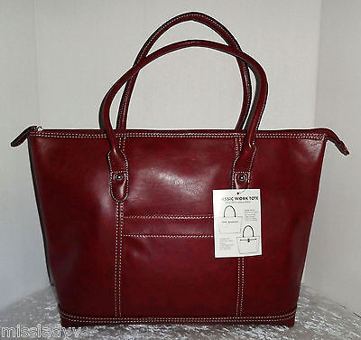 Burgundy Red Faux Leather Classic Work Laptop Tote Bag Handbag Satchel Purse Nwt