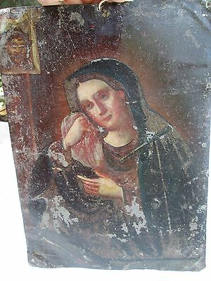 Antique Mexican retablo 18th/19th century religious oil painting on tin St. Lucy