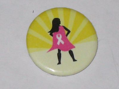"""Supergirl Breast Cancer Awareness 1"""" Button Pin Pinback Pink Cape With Ribbon"""