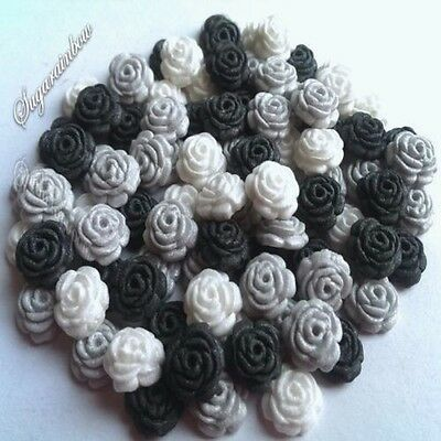 100 EDIBLE SUGAR TINY ROSES CAKE CUPCAKE TOPPERS DECORATIONS Silver/Black/White