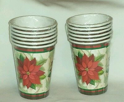 12 Disposable Poinsettia Cups 12 Oz  Party  New