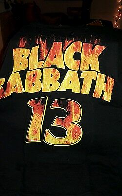 BLACK SABBATH 13 TOUR T-Shirt MENS SMALL 2013 FLAMES CROSS BLACK NEW S