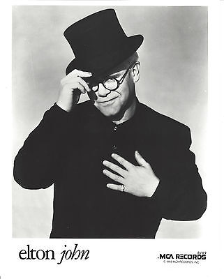 Elton John -  8 x10 B&W MCA Record Company Publicity Photo 1989