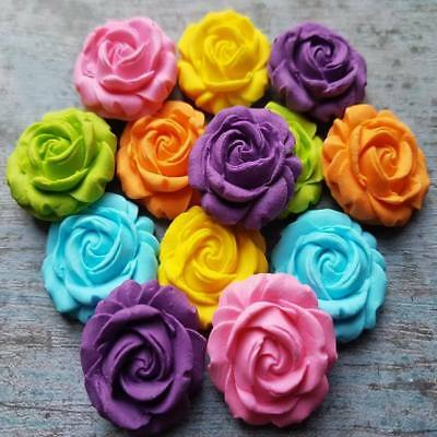 12 Edible Sugar Roses Flowers Cake Cupcake Toppers Decorations